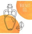 hand drawn walnut oil bottle with orange vector image vector image
