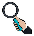 hand human with magnifying glass vector image vector image