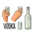 hands holding glass vodka vintage vector image vector image