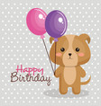 happy birthday card with tender animal vector image
