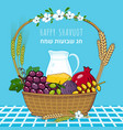 happy shavuot banner with traditional fruits milk vector image vector image