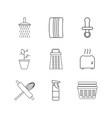 home appliances linear icon set simple outline vector image