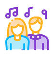 human silhouettes singing song in karaoke vector image vector image
