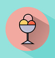 Ice cream scoops in bowl flat icon vector image