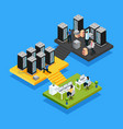 isometric data center concept vector image