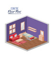 isometric floor plan of bedroom single bed and vector image