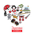 japan travel landmark symbols poster vector image vector image