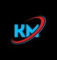 km k m letter logo design initial letter km vector image vector image