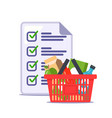man made a grocery list for store recipe vector image vector image