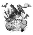 monochrome vintage halloween invitation card vector image