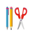 pen pencil and scissor design vector image vector image