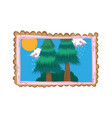 pines forest landscape in square frame vector image