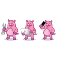 Purple Pig Mascot with tools vector image vector image