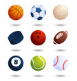 realistic sports balls big set isolated on white vector image