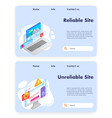 reliable site website landing page template vector image vector image