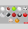 round stickers with sport balls and equipment vector image vector image