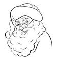 santa claus face portrait black white vector image
