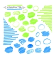 Set of blue and green fluorescent highlighter vector image vector image
