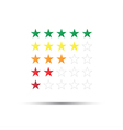 Set of red orange yellow and green rating stars vector image