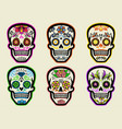 set sugar skull collection vector image vector image