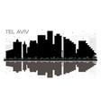 tel aviv israel city skyline black and white vector image vector image