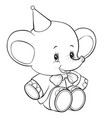 toy elephant sits with a cap on his head outline vector image vector image