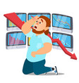 unhappy nervous businessman screaming male vector image