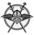 viking helmet crossed viking sword and in a vector image vector image