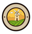 windmill building stamp seal vector image