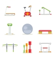 Fitness gym exercise equipment for workout in flat vector image