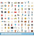 100 organization icons set cartoon style vector image vector image