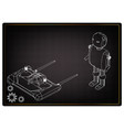 3d model of a robot and a radio remote control vector image vector image