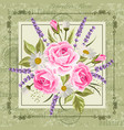 beautiful flowers for invitation card vintage vector image vector image