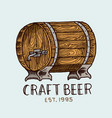 beer barrel in vintage style alcoholic label with vector image