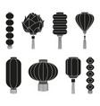 black and white chinese lantern silhouette set vector image vector image