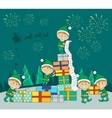 Christmas Elves Packing Presents Gift Boxes vector image vector image