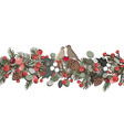 christmas seamless garland with fir tree branches vector image vector image