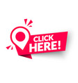 click here modern web banner with pointer icon vector image