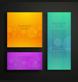 colorful banner design in three different sizes vector image vector image