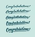 congratulation vintage hand lettering typography vector image vector image