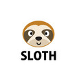 cute sloth flat logo icon vector image vector image