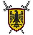 eagle and crossed swords coat arms vector image vector image