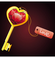 golden key with diamond heart with label vector image vector image
