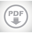Grey PDF download sign icon vector image vector image