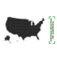 halftone map of usa territories and grunge caption vector image
