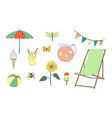 hand drawn summer vacation set vector image