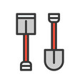 hoe and shovel filled outline icon handyman tool vector image