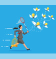 idea bulbs and businesswoman with net vector image