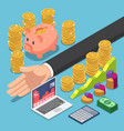 isometric businessman divide money for saving vector image