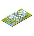 isometric perspective city with streets houses vector image
